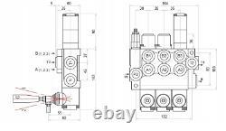 1x FLOATING 3 Spool Hydraulic Directional Control Valves 2x DA Double 40L 11 gpm