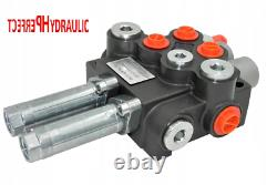 1x Single Acting 2 Bank Hydraulic Directional Control Valve 11gpm 40L cable kit
