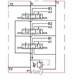 1x Single Acting 3 Bank Hydraulic Directional Control Valve 11gpm 40L 2x DA