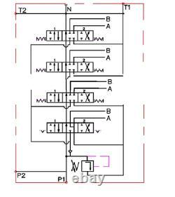 1x for Hydraulic Motors 4 Bank Hydraulic Directional Control Valve 11gpm 40L DA