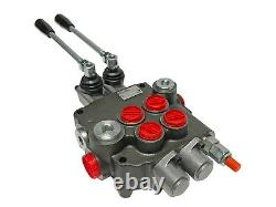 2 Spool Hydraulic Control Valve Double Acting 21 GPM 3600 PSI SAE Ports NEW