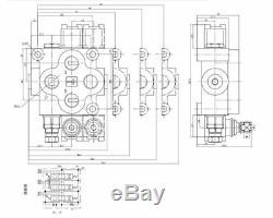 2 Spool Hydraulic Monoblock Hydraulic Directional Control Valve 25 GPM 90L/min