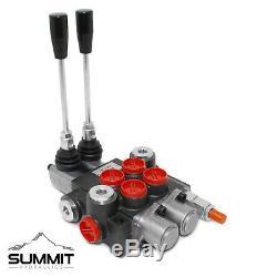 2 Spool Monoblock Hydraulic Directional Control Valve, 11 GPM, SAE Ports