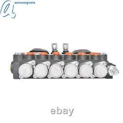 21 GPM 6 Spool Hydraulic Backhoe Directional Control Valve with 2 Joysticks