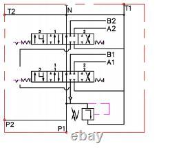 2x FLOATING spool 2 Bank Hydraulic Directional Control Valve 11gpm 40L 2x DA