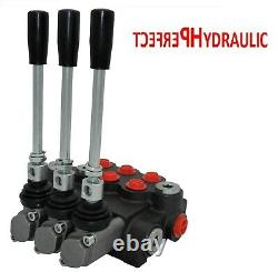 3 BANK Hydraulic Directional Control Valve 21gpm 80L 1x Single 2x Double Acting