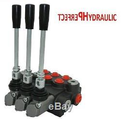 3 Spool Hydraulic Directional Control Valve 11gpm 40L 2x DA Double 1x SA SIngle