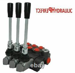 3 Spool Hydraulic Directional Control Valve 11gpm, Double Acting Cylinder 40 L