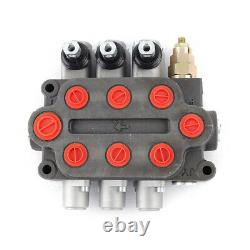 3Spool Hydraulic Directional Control Valve Double Acting 25GPM Adjust. US Ship