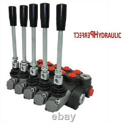 5 Bank Hydraulic Directional Control Valve 11gpm 40L Double Acting Cylinder DA