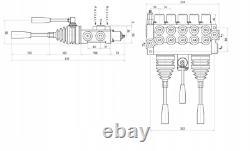 5 Spool Hydraulic Directional Control Valve 2x JOYSTICK 11gpm 40L 5x Double 5xDA