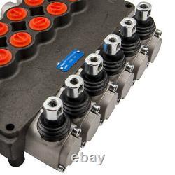 6 Spool Hydraulic Directional Control Valve 21gpm + 2 Joysticks 3625psi