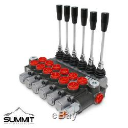 6 Spool Monoblock Hydraulic Directional Control Valve, 11 GPM, SAE Ports