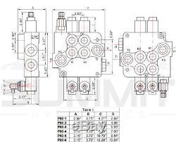 6 Spool Monoblock Hydraulic Directional Control Valve, 21 GPM, SAE Ports