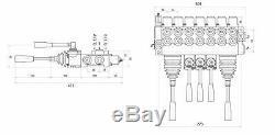 7 Spool 2 Joysticks Monoblock Hydraulic Directional Control Valve 11gpm 40L/M DA