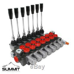 7 Spool Monoblock Hydraulic Directional Control Valve, 11 GPM, SAE Ports