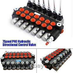 7Spool P40 Hydraulic Directional Control Valve Manual pneumatic control13GPM New