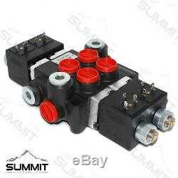 Hydraulic Monoblock Directional Solenoid Control Valve 2 Spool, 13 GPM with Switch