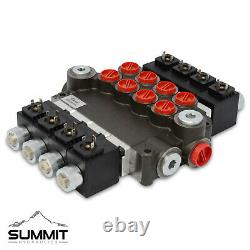 Hydraulic Monoblock Solenoid Directional Control Valve 4 Spool, 21 GPM with Switch