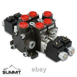 Hydraulic Solenoid Directional Control Valve, Double Acting, 2 Spool, 27 GPM, 12