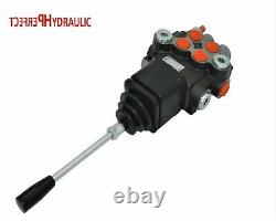 2 Bank Hydraulic Directional Control Valve Joystick 23gpm 40l Double Action