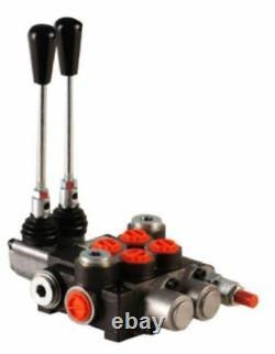 2 Bank Hydraulic Monoblock Directional Spool Valve 1/2 Bsp 80 L/m 300 Bar