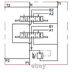 2 Bank Joysticks Monoblock Hydraulic Directional Control Valve 23gpm 40l