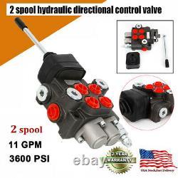 2 Bobine 11gpm Hydraulic Directional Adjustal Valve Double Acting Cylinder Nouveau