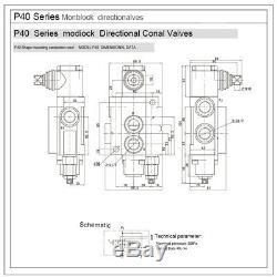 2 Spool Hydraulique Monobloc Hydraulique De Commande Directionnelle Valve 11 Gpm 40l / Min