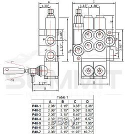 2 Spool Monobloc Hydraulique De Commande De Soupape Directionnelle, 11 Gpm, Ports Sae