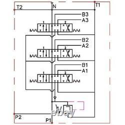 3 Bobine Hydraulique Directionnelle Valve Joystick 21gpm 80l 3x Double Action
