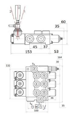 3 Hydraulique Monobloc Directionnel Spool Valve 3/8 Banque Bsp 40 L / M 315 Bar