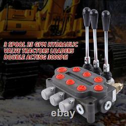 3 Spool 25 Gpm Monoblock Monoblock Soupape De Régulation Directionnelle 3000 Psi 90l / Min