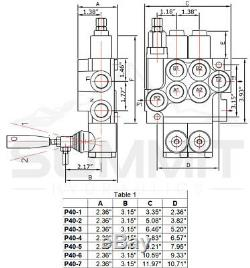 3 Spool Monobloc Hydraulique De Commande De Soupape Directionnelle, 11 Gpm, Ports Sae