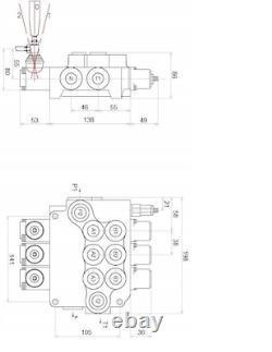 3 Valve Hydraulique De Commande Directionnelle De Bobine 21gpm 80l Double Cylindre D'action Da