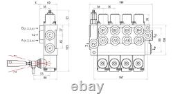 4 Bank Hydraulic Directional Control Valve 11gpm 40l Double Acting Cylinder Da