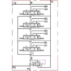 4 Banque Hydraulique Monobloc Directionnel Spool Valve 3/8 Bsp 40l 315 Bar 11 Gpm