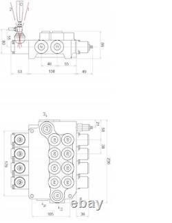 4 Bobine Hydraulique De Commande Directionnelle Valve 21gpm 80l Cylindre À Double Action Da