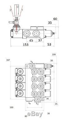 4 Spool Directionnelle Hydraulique Vanne De Régulation 11gpm, Double Effet Cylindre 40 L