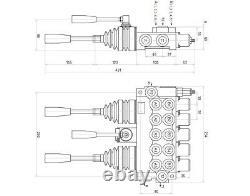 5 Bobine 2 Joysticks Monoblock Hydraulic Directional Control Valve 23gpm 40l