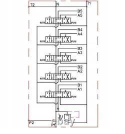 5 Bobine 2 Joysticks Monoblock Hydraulic Directional Control Valve 23gpm 40l Da