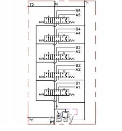 5 Spool Directionnelle Hydraulique Vanne De Régulation 11gpm, Double Effet Cylindre 40 L