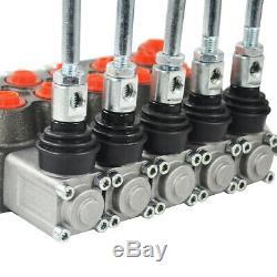 5 Spool Directionnelle Hydraulique Vanne De Régulation 11gpm, Double Effet Cylindre Spool