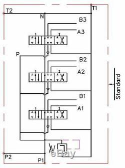 6 Soupape De Commande Directionnelle Hydraulique Bobine 11gpm (40l / Min) 6p40 + 2 Joysticks