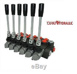 6 Spool Hydraulique Directionnelle Vanne De Régulation 11gpm, Double Effet Cylindre 40 L