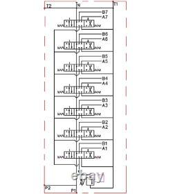 7 Bobine 2 Joysticks Monoblock Hydraulic Directional Control Valve 23gpm 40l