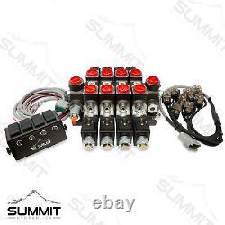 Valve De Commande Directionnelle Monobloc Hydraulique 4 Bobines, 27 Gpm Avec Interrupteur
